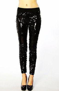 Black sequin pants - with blazer & love tee