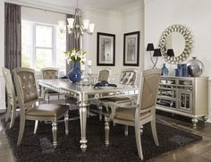 Modern Dining Room Sets For Your Big Family Orsina Silver Extendable Dining Room Set From Homelegance Coleman for Modern Dining Room Sets For Your Big Family Mirror Dining Table, Dining Room Table Decor, Dining Room Design, Dining Chairs, Room Decor, Arm Chairs, Mirrored Table, Office Chairs, Table Desk