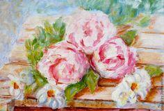 """Купить картина """"Розвый плюс белый. Цветы"""" - уютные картины маслом, нежные картины маслом"""
