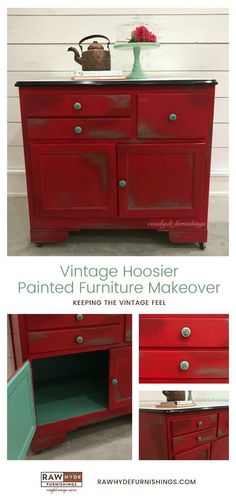 Painted Furniture Makeover | Hoosier Cabinet | Chalk Paint | Vintage Furniture | RAWHyde Furnishings (scheduled via http://www.tailwindapp.com?utm_source=pinterest&utm_medium=twpin)