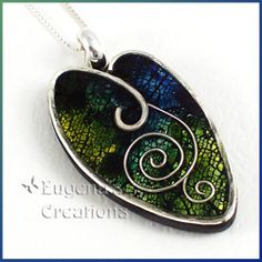 Polymer Clay Tutorial Pendants With Leaf Imprints and Silver Frames $12