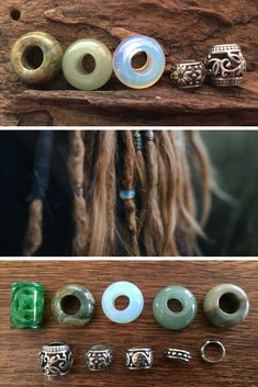 Set of 10 Stainless Steel + Gemstone Dreadlock Beads from Mountain Dreads #dreadshop #dreadbeads #dreadlockbeads #dreadaccessories Beautiful Small Hole Dread Beads. Dreadlock Jewelery and Accessories. www.mountaindreads.com