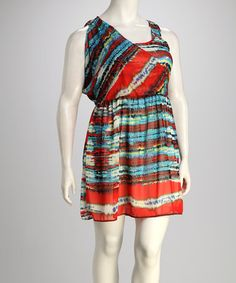 Take a look at this Red & Blue Plus-Size Surplice Dress by Jazzy Martini on #zulily today!
