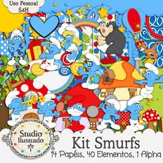 Kit Smurfs, Smurfs Kit, Azúis, Blues, Smurfette, Papai Smurf, Gargamel, Gato Cruel, Cogumelos, Floresta, Aldeia, Papa Smurf, Gargamel, Escada, Ladder, Cruel Cat, Mushrooms, Forest, Village, Kit Digital, Papéis, Alpha, Elementos, Digital Kit, Papers, Elements