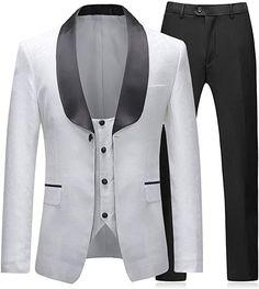 Sliktaa Costume Homme Blanc 3 Pièces Slim Fit Élégant Formel Mariage  Business Bal Tuxedo Veste Gilet et Pantalons  Amazon.fr  Vêtements et  accessoires 5a29c74dd7e