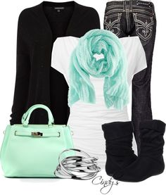 Have the boots and bangles...just need the Tiffany color purse and scarf and cute black sweater with white shirt