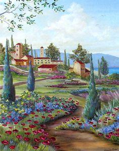 Tuscan Village art print Italian landscape painting