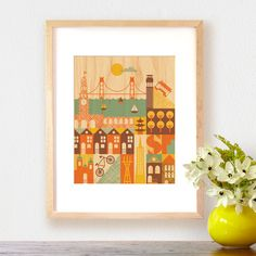 Much like San Francisco itself, this art print on wood packs a wallop of fun diversity in a compact space. Handcrafted and precision-sanded, this wood print would look great in the entry hallway, in the kitchen, or in a child's room.