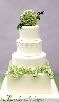 Hidrangea Wedding Cake. I think the top is too much and not right but I like the individual hydrangea flowers, which could differ in color but I like the green, maybe some lavender mixed in.