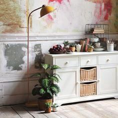 Tamra Floor Lamp - Ochre/Copper from The Cotswold Company  Mustard Floor Lamp, Yellow Floor Lamp, Retro Floor Lamp.