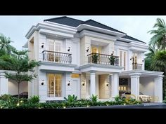 Menik Private House Design - Jatibening, Bekasi- Quality house design of architectural services, experienced professional Bali Villa Tropical designs from Emporio Architect. Classic House Exterior, Classic House Design, Duplex House Design, Dream House Exterior, Modern House Design, House Outside Design, House Front Design, House Plans Mansion, Village House Design