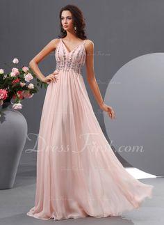 A-Line/Princess V-neck Floor-Length Chiffon Prom Dress With Ruffle Beading Sequins (018022729)