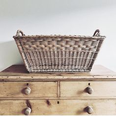 traveled from Warwick to visit the shop yesterday. They found some lovely things that work perfectly in their home. Look how wonderful this French market basket looks on this antique pine chest. I love the simple, carefully curated style of French Country Cottage, French Country Style, Modern Country, Sisal, Cosy Living, Pine Chests, Market Baskets, Beautiful Interiors, Basket Weaving