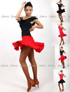 New Ballroom Latin Dance Dress Top Skirt Set Salsa Tango ChaCha Dance Costume | eBay