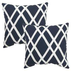 """2-Piece Outdoor 18"""" Toss Pillow Set - Threshold™ - Navy Latt"""