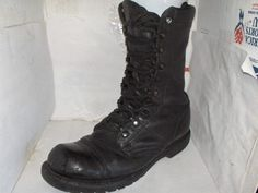 CORCORAN MENS BLACK LEATHER MILITARY BOOTS SIZE 9 MEDIUM #COCCORAN #Military