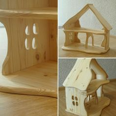 Wooden dollhouse Wooden Dollhouse, Fairy Dolls, Woodturning, Wood Work, Doll Houses, Wooden Toys, Sculpting, Sweet Home, Illustration Art