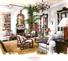 interior illustration and visualization, watercolor illustration, handmade rendering - country - Andrea Prandini