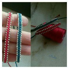 Bracciali in filato C-lon con perline in metallo e chiusura regolabile