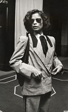 "If you look up the definition of ""style icon"" in the dictionary, we think there should be a photo of Bianca Jagger next to the term. Bianca Jagger, Charlotte Rampling, Diane Keaton, Woody Allen, Twiggy, Alexa Chung, Moves Like Jagger, Joan Jett, Studio 54"