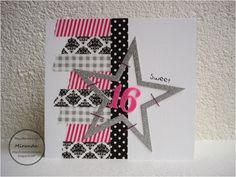 Miranda's Creaties: Black, white and pink Big Birthday Cards, 16th Birthday Card, Teen Birthday, Washi Tape Cards, Masking Tape, Sweet 16, Kids Stamps, Kids Cards, Fun Crafts
