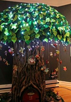Make a tree with LED lights and hang flying faeries