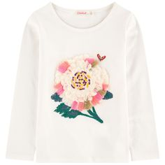 Cotton jersey Pleasant to the touch Straight fit Crew neck Long sleeves Embroidery Fancy sequins Small logo patch on the heels - £ 30