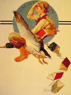 葛根湯・般若湯・金平糖.......Vacation Boy Riding a Goose — Norman Rockwell