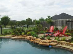 Poolside pavestone patio and landscaping.