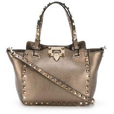 Valentino Garavani Mini Rockstud Tote (4,510 PEN) ❤ liked on Polyvore featuring bags, handbags, tote bags, grey, gray leather handbag, leather tote, gray leather purse, leather handbags and gray leather tote bag