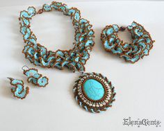 Beaded necklace, earrings and bracelet, Bead embroidery, Bead jewelry, Handmade jewelry, Turquoise jewelry - Sardinia