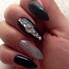 ♥ black with silver and gemstones