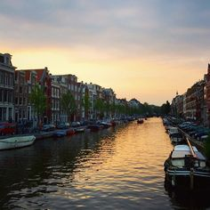The city that's known for its bikes, bridges, and canals. This is #AMSTERDAM at dusk.