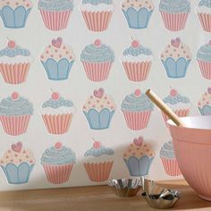 Since Graham & Brown has been designing and manufacturing wallpaper for your home. Shop for exclusive wallpaper designs and the latest wall coverings now. Plain Wallpaper, Kitchen Wallpaper, Pastel Wallpaper, Interior Wallpaper, Sweet Cupcakes, Pink Cupcakes, Cupcakes Wallpaper, Cupcake Collection, Pastel Kitchen