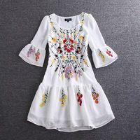 Yeni 2016 İlkbahar yaz moda kadın kızlar çiçek nakış elbise bohemian parlama kol sevimli şifon casual shift elbise