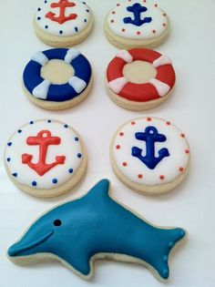 Anchor Sugar Cookies, life preserves sugar cookie, dolphin sugar cookie - 2 dozen on Etsy, $24.00
