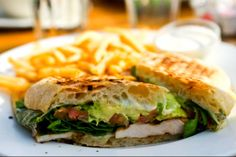 chicken/spinach/avocado panini. I love to make my own paninis....avocado and mozz cheese is a must!!