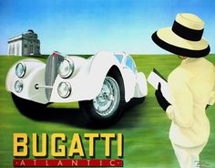 Art Deco Bugatti promo poster(Art Deco or deco, is an eclectic artistic and design style that began in Paris in the 1920s and flourished internationally throughout the 1930s and into the World War II era. The style influenced all areas of design, including architecture and interior design, industrial design, fashion and jewelry, as well as the visual arts such as painting, graphic arts and film)