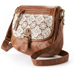 A fashion look from October 2015 featuring floral handbags. Browse and shop related looks. Brown Crossbody Purse, Crossbody Shoulder Bag, Shoulder Handbags, Leather Crossbody, Brown Leather Purses, Brown Purses, Lace Purse, Floral Shoulder Bags, Backpack Purse