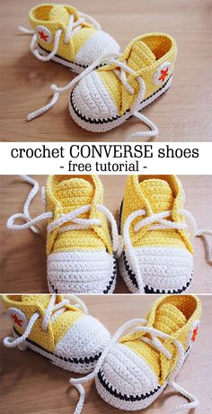 Ravelry: Crochet Baby Converse - Pattern by Suzanne Resaul - Free Pattern Häkeln Sie Converse Baby Booties Pattern Free Video Tutorial Source by isilayaktimur Baby booties are very popular. Crochet Converse, Crochet Baby Booties, Crochet Slippers, Baby Shoes Pattern, Baby Patterns, Crochet Patterns, Crochet Ideas, Love Crochet, Crochet For Kids