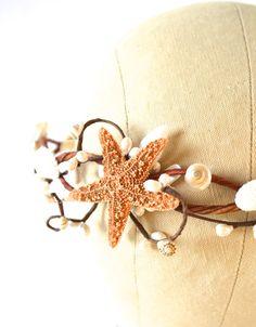 Beach Wedding Head Piece Seashell Hair Accessory by hazelfaire