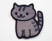 Misty - Neko Atsume Sew On Machine Embroidered Patch, gray kitty with dark gray stripes