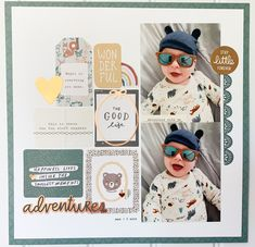 Love using lots of Crate Paper Magical Forest die cuts and stickers to make this simple layout. Baby Scrapbook Pages, Project Life Scrapbook, Baby Boy Scrapbook, Scrapbook Journal, Scrapbook Sketches, Travel Scrapbook, Scrapbook Paper Crafts, Scrapbooking Layouts, Scrapbook Cards
