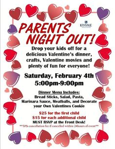 Parents Night Out - Valentine sample flier.