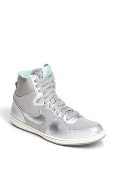 nike terminator lite high top sneaker women's in metallic silver and tiffany blue / turquoise, from Nordstrom