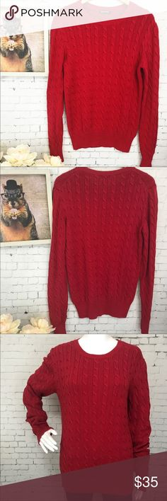 """American Apparel Cable Knit Red Sweater Large Details: Beautiful cable knit Sweater!   Condition: Great condition!  No snags. Very minor piling Material: 100% Cotton Color: Cherry Red  All measurements are taken while item is laying flat and are approximate.  Armpit to Armpit: 21"""" Length Front: 29"""" Length Back: 29""""  I consider ALL Offers! Don't be shy! No Trades (A2) American Apparel Sweaters Crew & Scoop Necks"""