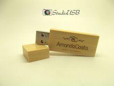 Pendrive Wood Slim Bambu - By Amanda Costa
