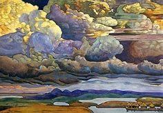 Battle in the Heavens, 1912 by  Nicholas Roerich (October 9, 1874 - December 13, 1947)