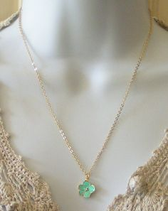 Fabulous High Quality Detailed Enamel Orchid Flower in Seafoam (Pale Blue Green) 16K Gold Plate Clear Cubic Zirconia  on Awsome Chain. $24.00