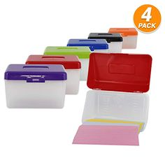 School Index Cards /& More 4-Pack with 5 Dividers and Adhesive Label Tabs Index Card Case 4x6 Inch Index Card Holder Fits Up to 200 Cards Per Case Store Recipe Cards Assorted Colors